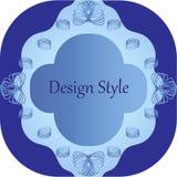Gevormd kader met verdraaide elementen in blauwe tonen royalty-vrije illustratie