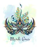 Gevormd masker op de grungeachtergrond Mardi Gras-festival stock illustratie