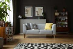 Gevormd tapijt voor grijze bank in uitstekend woonkamerbinnenland met lamp en affiches Echte foto royalty-vrije stock fotografie