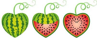 Gevormd watermeloenhart royalty-vrije illustratie