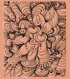 Gevormde achtergrond met harten op roze royalty-vrije illustratie