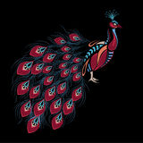 Gevormde gekleurde pauw Afrikaans/Indisch/totem/tatoegeringsontwerp Stock Foto