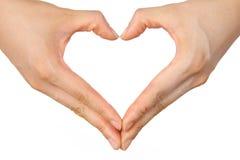 Gevormde het hart overhandigt sign  Royalty-vrije Stock Afbeeldingen