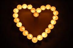 Gevormde het hart van kaarsen Stock Foto