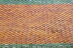 Gevormde tegels op het dak van tempel Royalty-vrije Stock Afbeelding