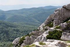 Gevouwen bergpiek in Risnjak, Kroatisch nationaal park Royalty-vrije Stock Afbeeldingen