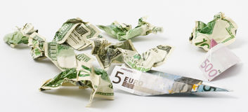 Gevouwen dollar en euro Royalty-vrije Stock Fotografie