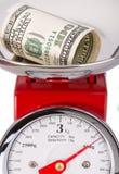 Gevouwen dollar op schalen De dollar van de munt Royalty-vrije Stock Fotografie