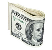 Gevouwen honderd die dollarsrekeningen op wit worden geïsoleerd Stock Fotografie