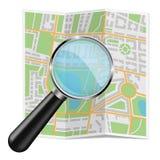 Gevouwen stadskaart Abstracte cartografie met zoemend glas vector illustratie