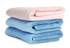 Gevouwen zachte badstofhanddoeken stock fotografie