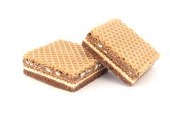 Gevuld wafeltje met chocolade Royalty-vrije Stock Foto's