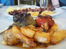 Gevulde die tomaat en peper in Grieks restaurant wordt gediend royalty-vrije stock foto