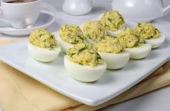 Gevulde eieren met kruiden Royalty-vrije Stock Foto's