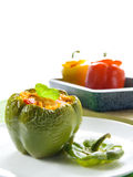 Gevulde groene paprika Royalty-vrije Stock Foto's