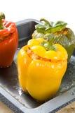 Gevulde groene paprika's Royalty-vrije Stock Foto's