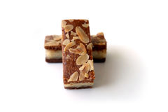 Gevulde speculaas (brown spiced biscuit) on white Stock Photos