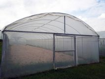 Gewächshausstoff transparenter bedeckter Stoff im Freien Stockbild