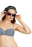 Gewöhnliche Frau im Badeanzug stockbilder