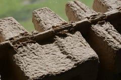 Gewölbte Holzfaserplatte Karton betitelt Stockfoto