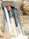 Gewölbte Rohre für das Legen von Telefondrähten und von elektrischen Leitungen Lizenzfreies Stockbild