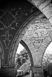 Gewölbte Spalten im alten Schloss Stockfotos