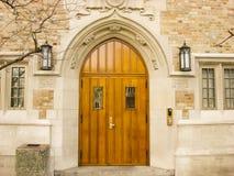 Gewölbte Tür auf dem Notre- Damecampus Lizenzfreie Stockfotografie