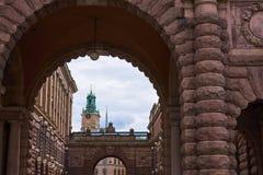 Gewölbter Durchgang des Parlaments, Stockholm lizenzfreie stockfotografie
