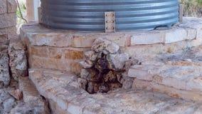 Gewölbter Stahlwasserbehälter auf Steinplattemaurerarbeitstruktur, mit kleinem Steinbrunnen in der Front stockfotografie