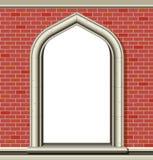 Gewölbtes Fenster, Ziegelsteine Lizenzfreie Stockfotografie
