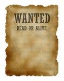 Gewünschte Tote oder lebendig Lizenzfreies Stockbild