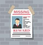 Gewünschtes Mannpapierplakat Die Verfehlung kündigen an Lizenzfreies Stockbild