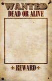 Gewünschtes Plakat - decken Sie Belohnung ab Stockbilder