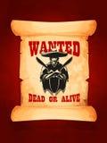 Gewünschtes totes oder lebendiges Plakat des mexikanischen Banditen Lizenzfreies Stockbild