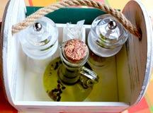 Gewürz-Satz und Olive Oil stockfotografie