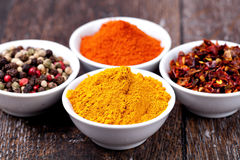 Gewürze Curry, Pfeffer-Mischung und Paprika Stockfotografie