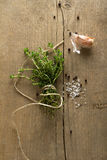 Gewürze (Knoblauch, Thymian, sehen Salz, schwarze Pfefferkörner) Stockbilder