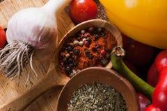 gewürze Kulinarisch, Küche, Rezepthintergrund Stockfotografie