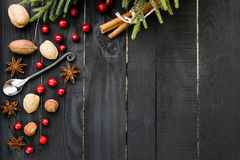 Gewürze, Nüsse und Moosbeeren auf dem schwarzen hölzernen Hintergrund Rustikale Tabelle lizenzfreie stockfotos