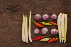 Gewürze, Paprikas, Schalotte, Lemongras auf einem Bretterboden Thailändisches i Lizenzfreies Stockfoto
