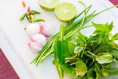 Gewürze und Kräuter mit Zitrone Stockbild