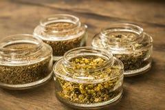 Gewürze und Kräuterteebestandteile auf Glasgefäßen Stockfoto
