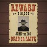 Gew?nschte Tote oder lebendige Fahne mit Mannschattenbild in einem Hut und mit dem Schnurrbart stock abbildung