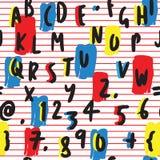Gewaagd en Kleurrijk Letters en Getallen Hand Getrokken Naadloos Patroon op Rode Stri Witte achtergrond stock illustratie