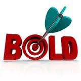 Gewaagd - Pijl in Word Bullseye - Agressief ben Stock Fotografie