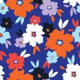 Gewaagde grafische grote schaalbloemen op blauw vector naadloos patroon als achtergrond stock illustratie