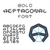 Gewaagde Heptagonal Alfabet en Cijfers Geometrische doopvont Vector Stock Afbeeldingen