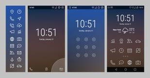 Gewaagde Lijn UI en UX-de schermen Stock Foto's