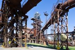 Gewaagde toren, Lager Vitkovice-gebieds nationaal cultureel oriëntatiepunt, de stad van Ostrava, Noord-Moravië, Tsjechische repub stock afbeelding