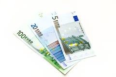 Gewaaide Euro nota's Stock Afbeeldingen